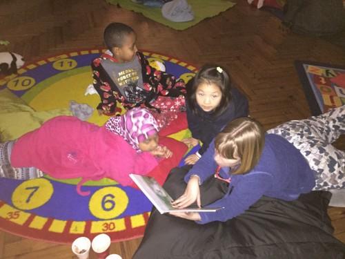 Enjoying a bedtime story!